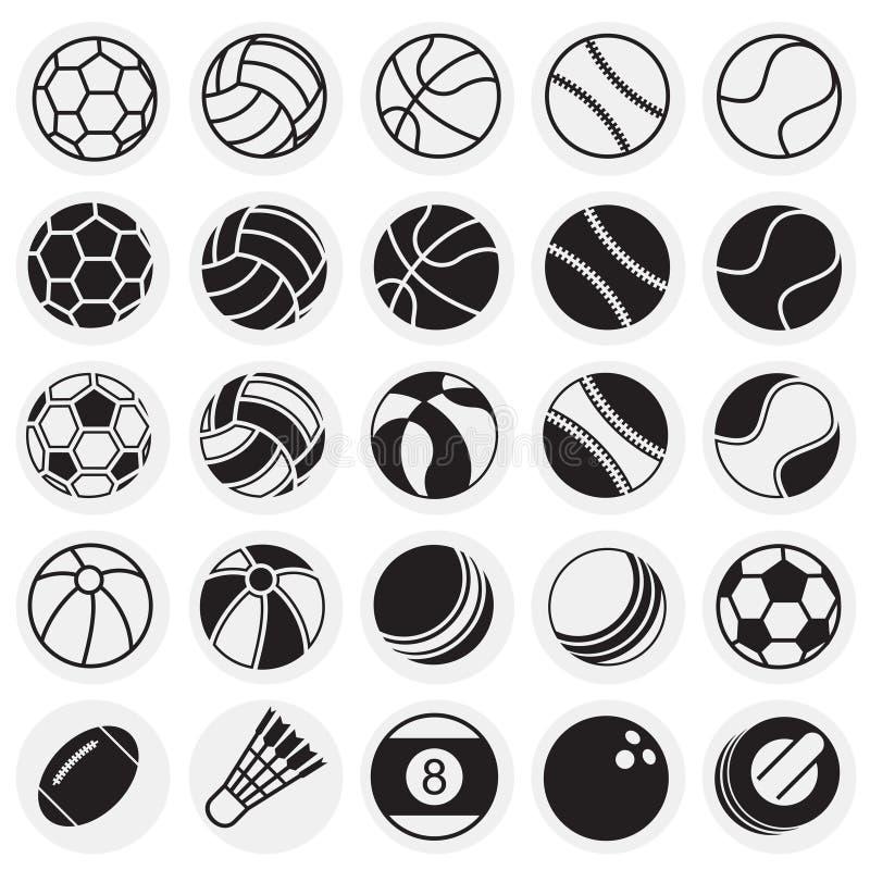 Sportbollsymboler ställde in på cirkelbakgrund för diagrammet och rengöringsdukdesignen, modernt enkelt vektortecken för färgbegr stock illustrationer