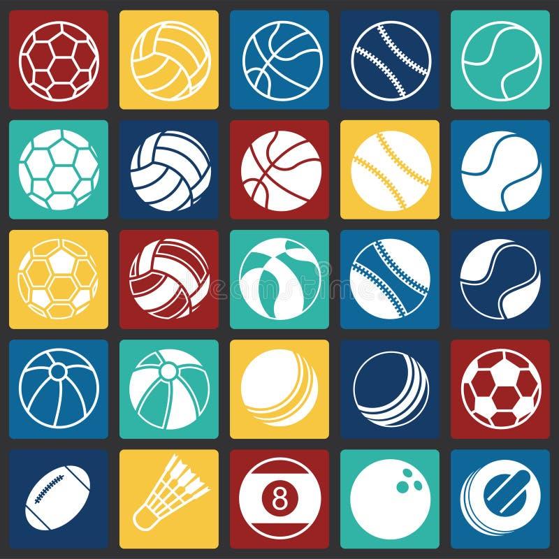 Sportbollsymboler ställde in på färgfyrkantbakgrund för diagrammet och rengöringsdukdesignen, modernt enkelt vektortecken för fär vektor illustrationer
