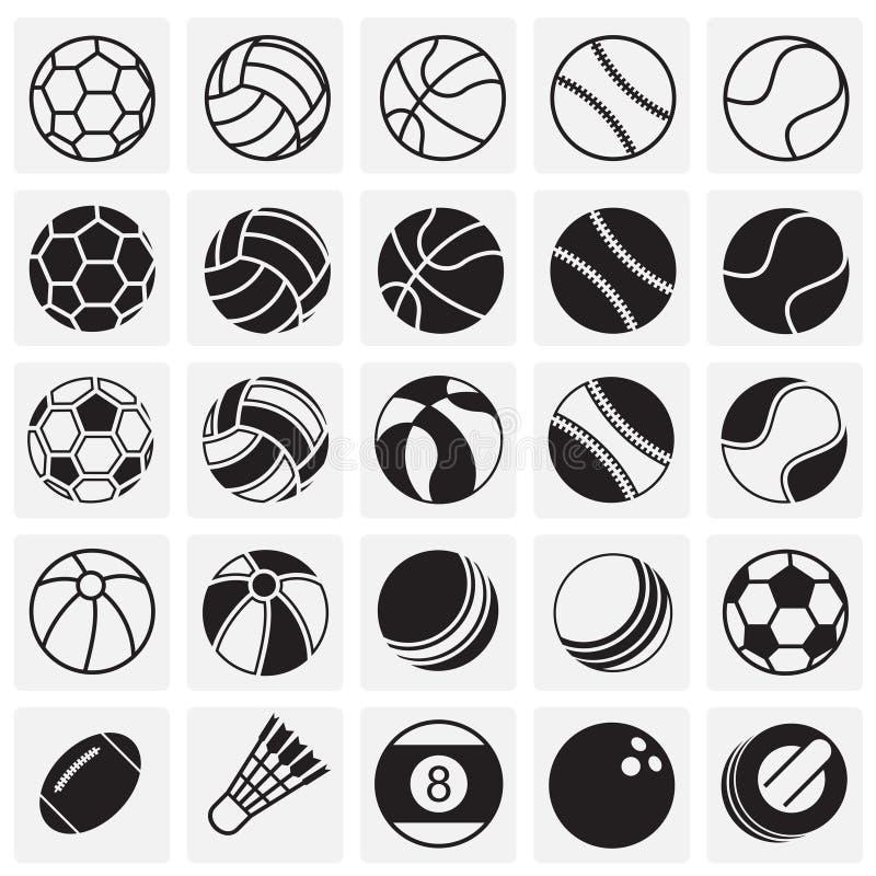 Sportbollsymboler ställde in på fyrkantbakgrund för diagrammet och rengöringsdukdesignen, modernt enkelt vektortecken för färgbeg vektor illustrationer