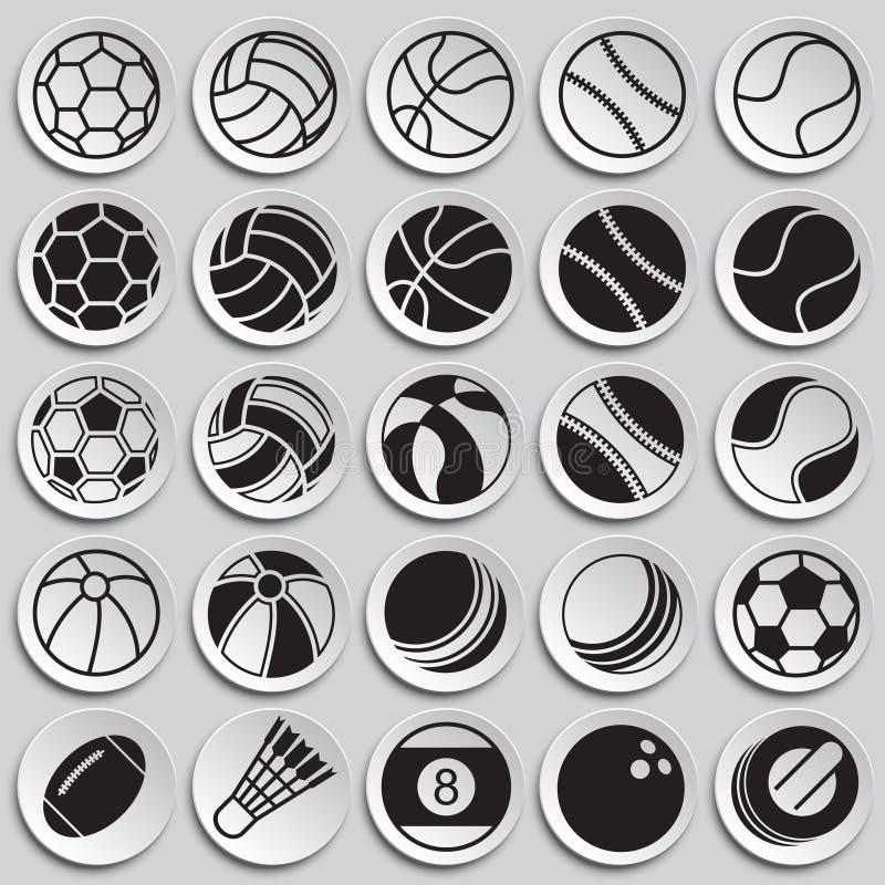 Sportbollsymboler ställde in på plattabakgrund för diagrammet och rengöringsdukdesignen, modernt enkelt vektortecken för färgbegr royaltyfri illustrationer
