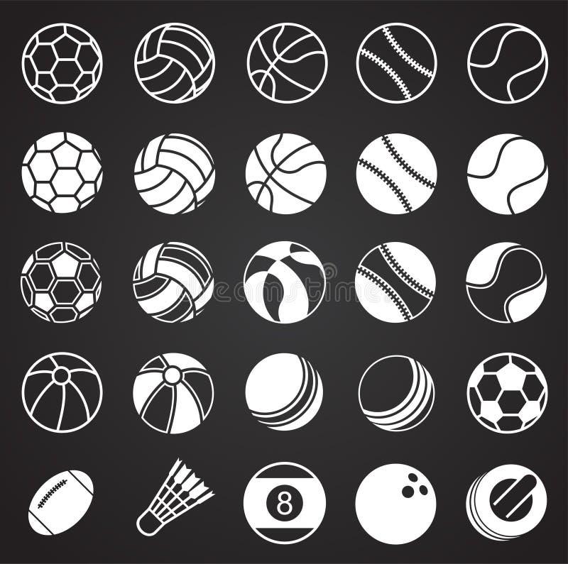 Sportbollsymboler ställde in på svart bakgrund för diagrammet och rengöringsdukdesignen, modernt enkelt vektortecken för färgbegr vektor illustrationer
