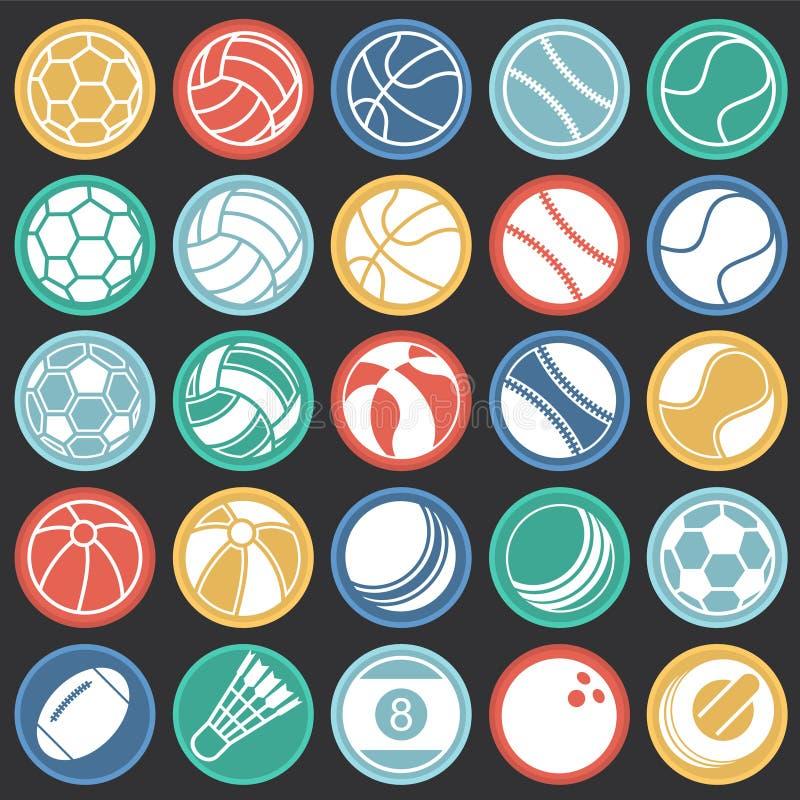 Sportbollsymboler ställde in på svart bakgrund för färgcirklar för diagrammet och rengöringsdukdesignen, modernt enkelt vektortec vektor illustrationer