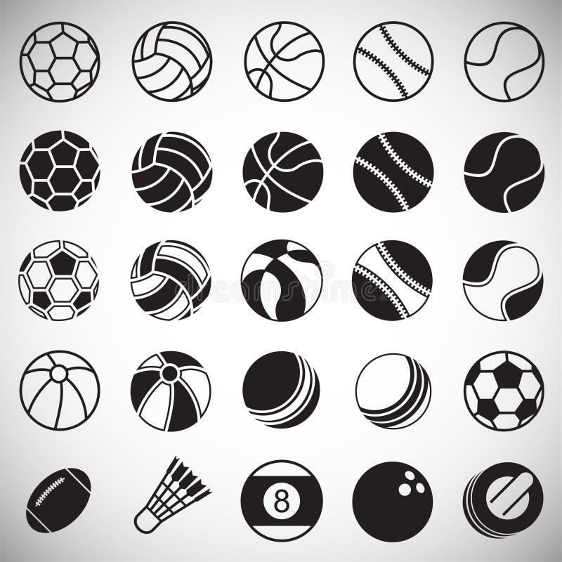 Sportbollsymboler ställde in på vit bakgrund för diagrammet och rengöringsdukdesignen, modernt enkelt vektortecken för färgbegrep stock illustrationer