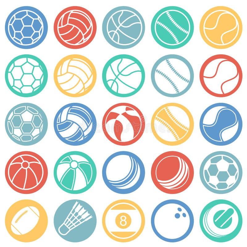 Sportbollsymboler ställde in på vit bakgrund för färgcirklar för diagrammet och rengöringsdukdesignen, modernt enkelt vektortecke royaltyfri illustrationer