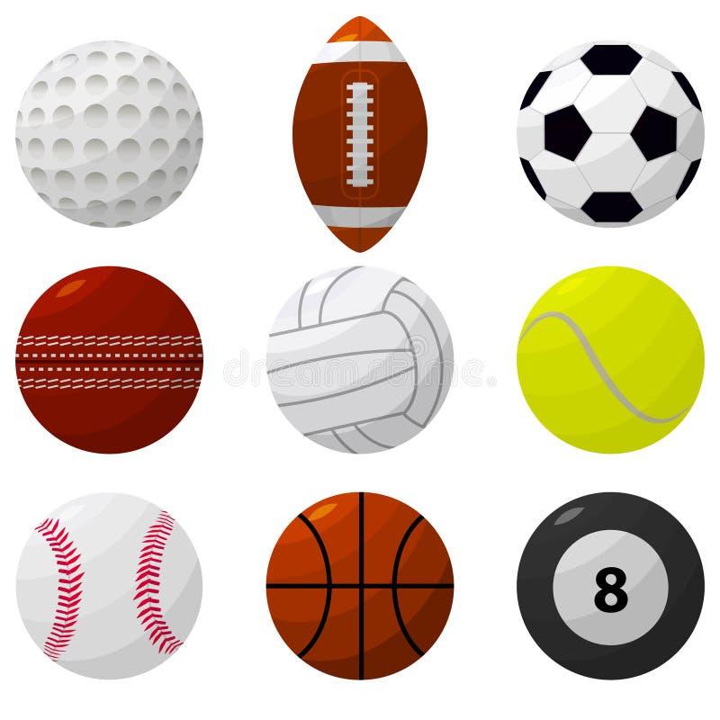 Sportbolluppsättning för olika lekar vektor vektor illustrationer