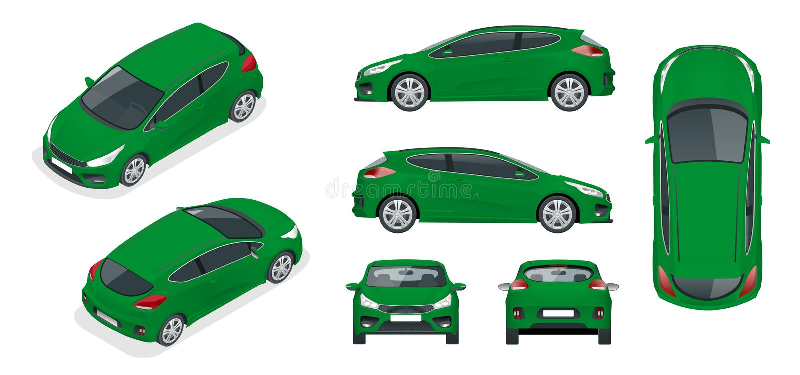 Sportcar或斜背式的汽车车 在白色背景设置的SUV汽车 向量例证