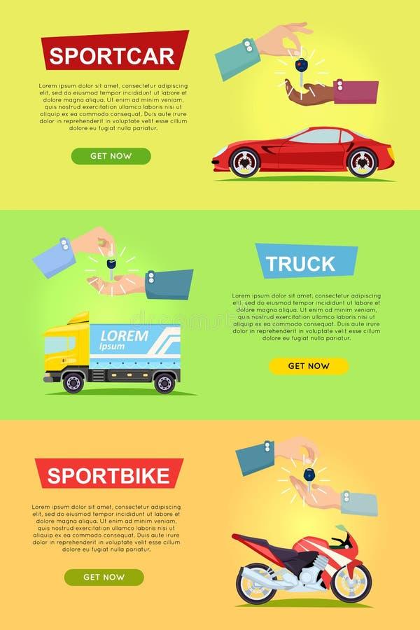 Sportcar 卡车 Sportbike 通过关键字的现有量 库存例证