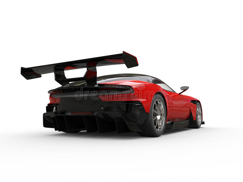 Sportcar moderno vermelho cardinal - opinião da cauda ilustração do vetor
