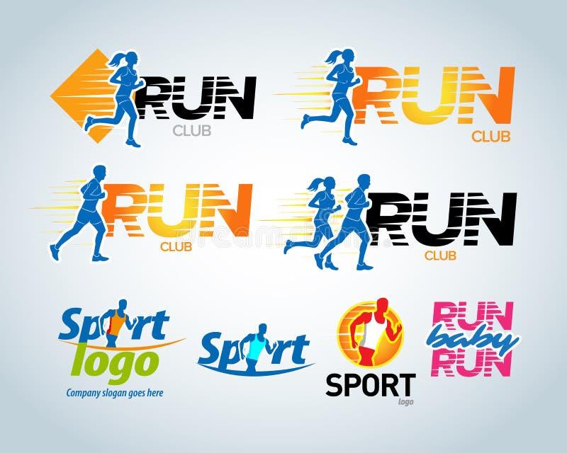 Sportclub, lopende club vectoretiketten en emblemen, logotypes, kentekens Kleding, de concepten van het t-shirtontwerp Vector ill stock illustratie