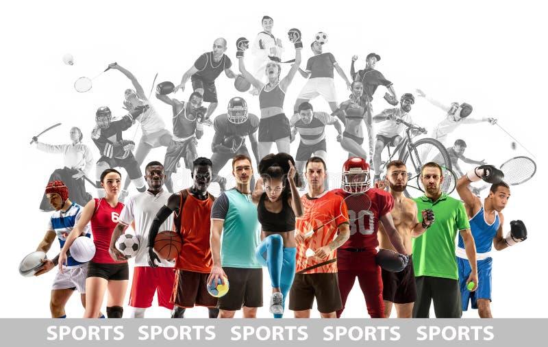Sportcollage ?ber weibliche Athleten oder Spieler Das Tennis, Betrieb, Badminton, Volleyball stockbilder