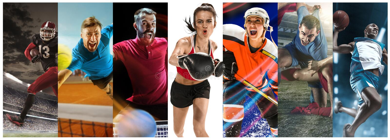 Sportcollage om fotboll, amerikansk fotboll, badminton, tennis, boxning, is och landhockey, bordtennis fotografering för bildbyråer