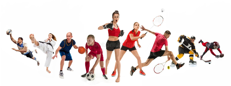 Sportcollage om kickboxing, fotboll, amerikansk fotboll, basket, ishockey, badminton, Taekwondo, tennis, rugby royaltyfria bilder