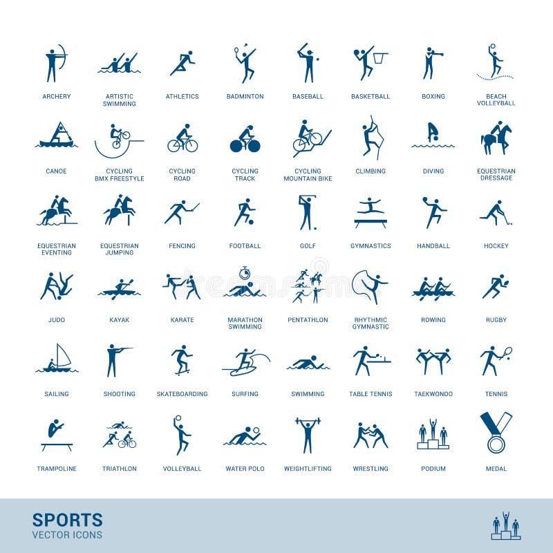 Sportdisciplinsymboler stock illustrationer