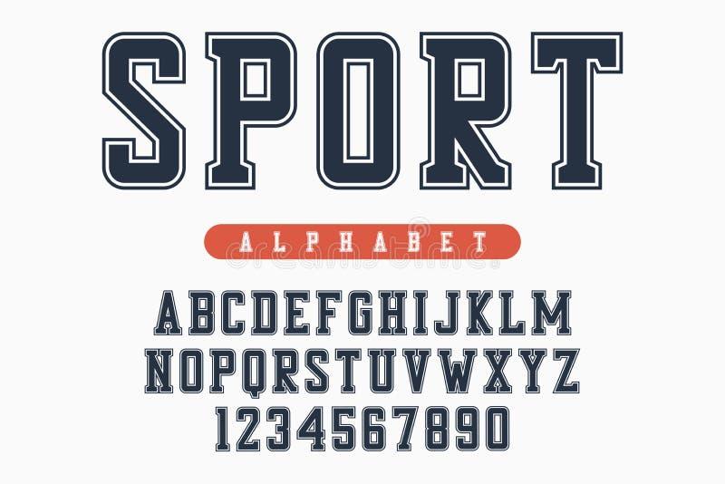 Sportdoopvont, origineel universiteitsalfabet Atletische stijlletters en getallen voor sportkleding, t-shirt, universitair emblee vector illustratie