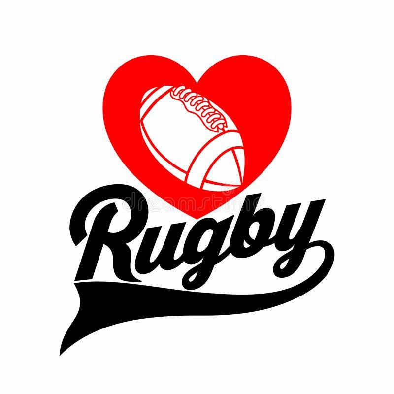 Sportdruck auf dem T-Shirt Ich liebe Rugby lizenzfreie abbildung