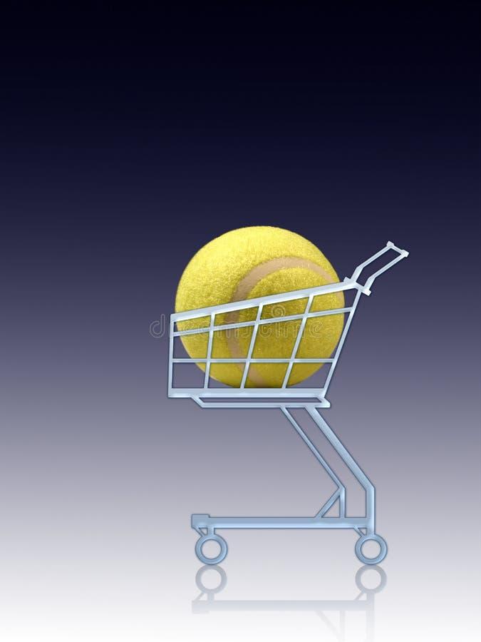 Sporteinkauf. Tenniskugel in einem Einkaufswagen lizenzfreie abbildung