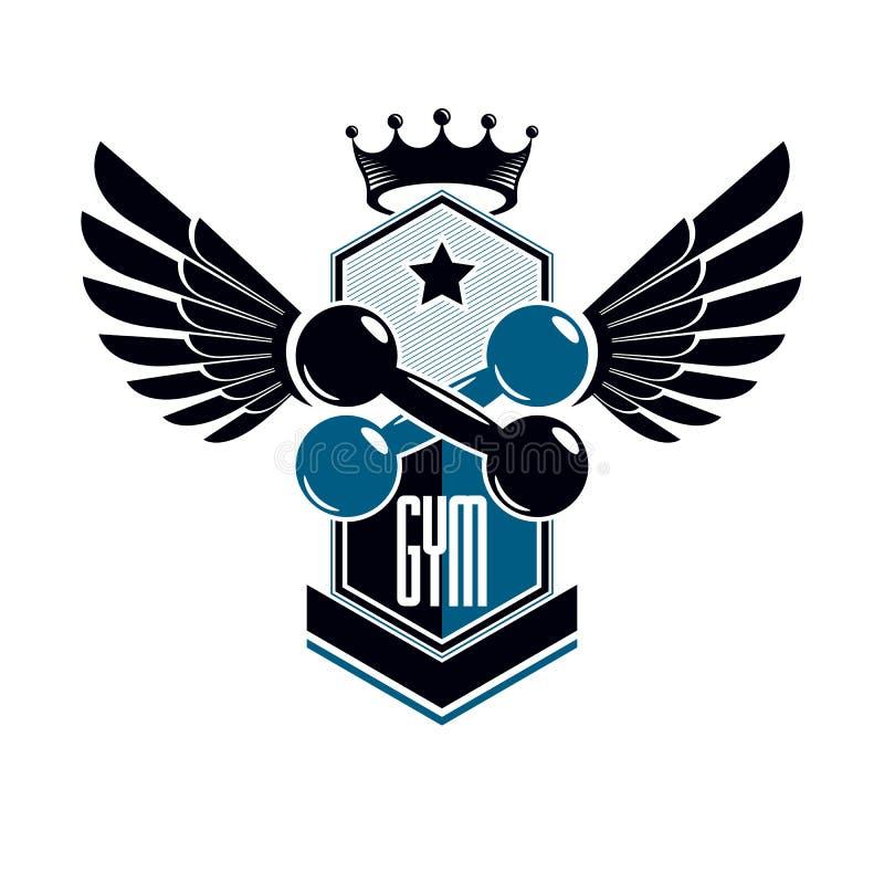 Sportembleem voor gewichtheffengymnastiek en fitness club, uitstekend stijl vectorembleem met vleugels royalty-vrije illustratie