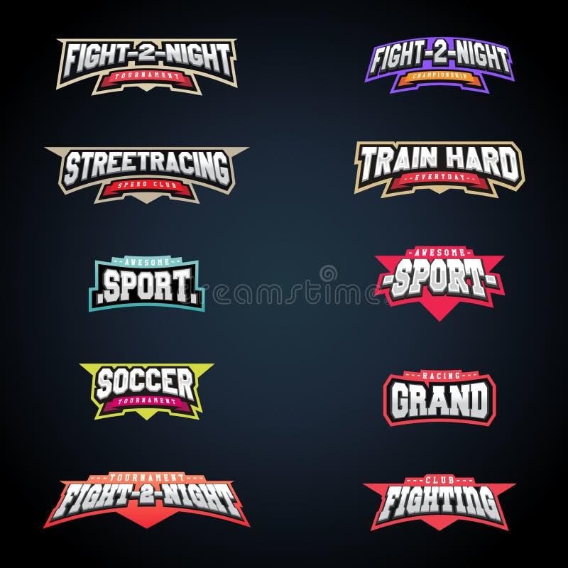 Sportemblem-Typografiesatz Superlogo für Ihr T-Shirt Mega- Firmenzeichensammlung lizenzfreie abbildung