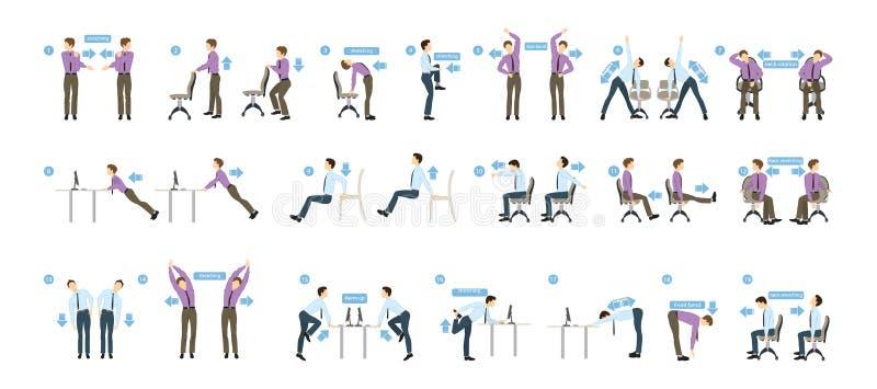 Sporten övar för kontor royaltyfri illustrationer