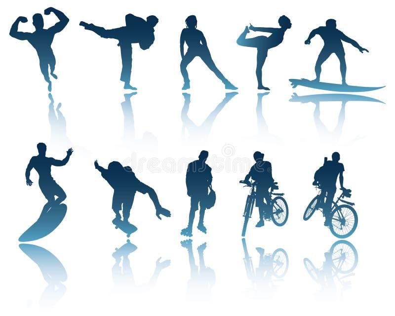 Sporten & de Silhouetten van de Fitness vector illustratie