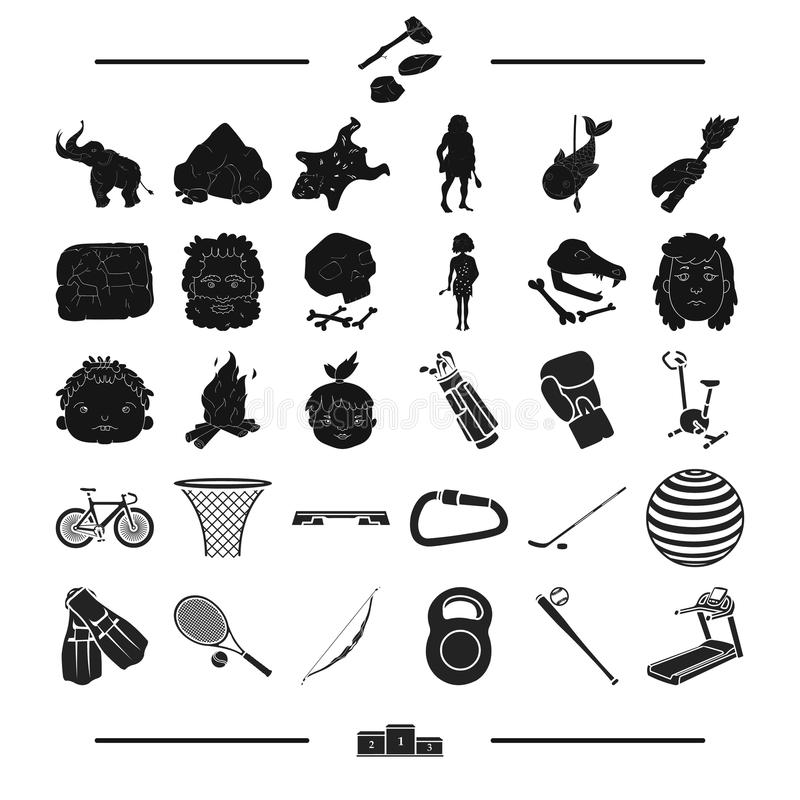 Sporten, attributen, vervoer en ander Webpictogram in zwarte stijl plaats, de concurrentie, opleiding, pictogrammen in vastgestel stock illustratie