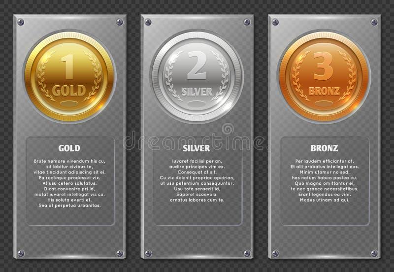 Sporten of bedrijfs vectorinfographics met de medailles van de winnaarstoekenning stock illustratie
