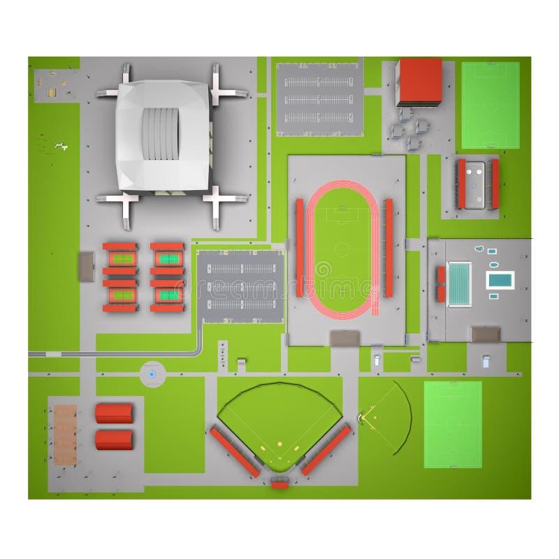 Sporten complexe hoogste mening royalty-vrije illustratie