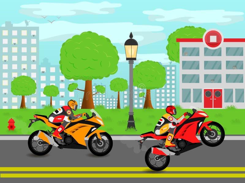 Sporten cyklar på gatorna av staden vektor illustrationer