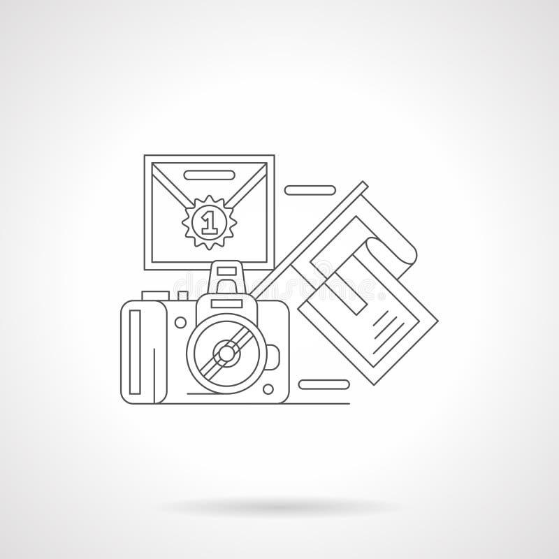 Sporten die gedetailleerd lijnpictogram fotograferen stock foto