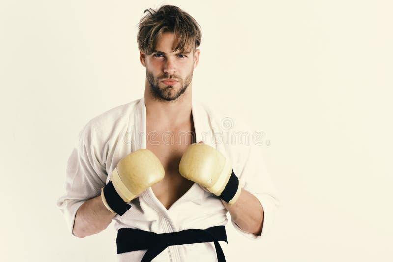 Sporten en gevechtsconcept Mens met zeker gezicht royalty-vrije stock fotografie