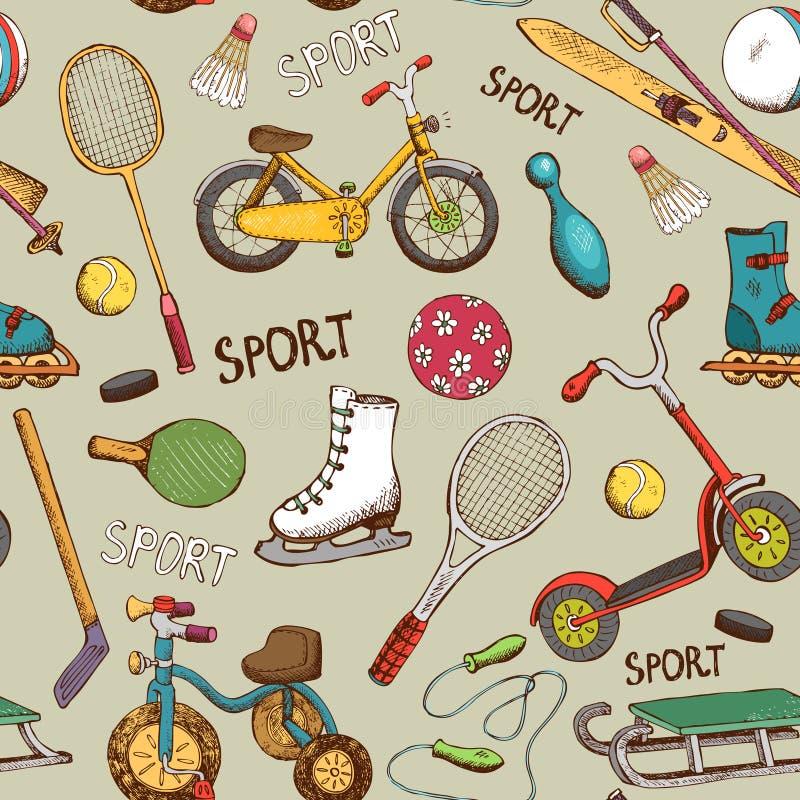 Sporten en van actiespelen patroon royalty-vrije illustratie