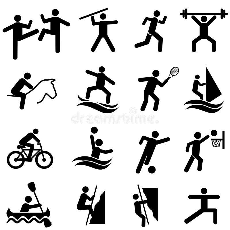 Sporten, fitness, activiteiten en oefeningspictogramreeks stock illustratie
