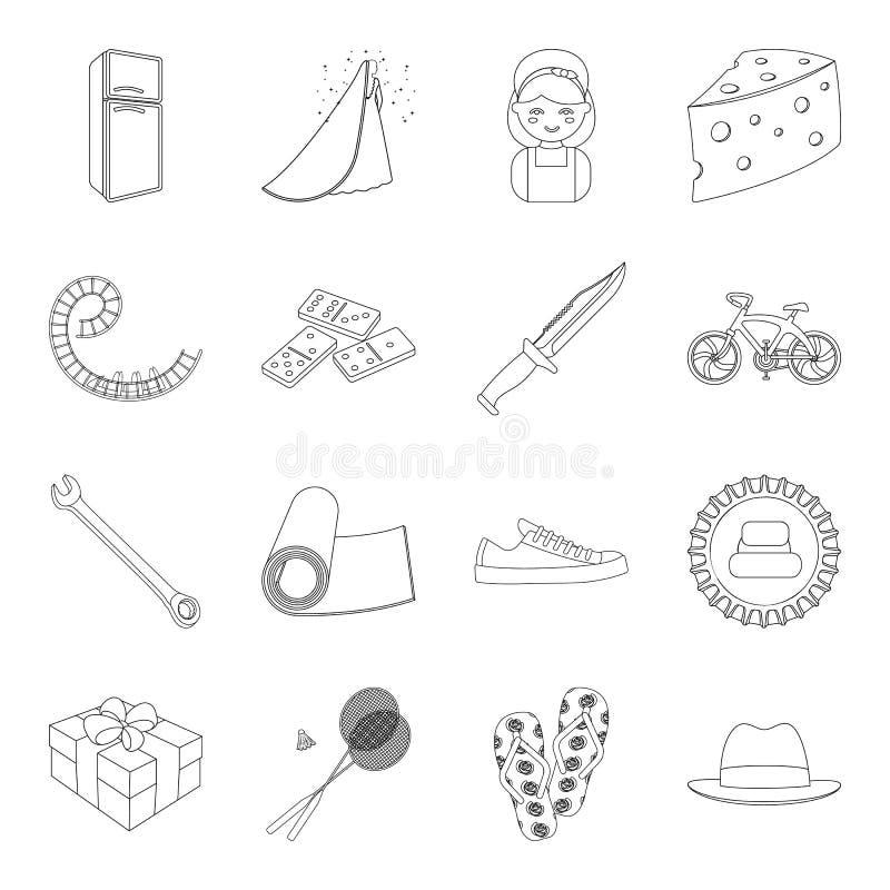 Sporten, fitness, huwelijk en ander Webpictogram in overzichtsstijl elektrisch apparaat, voedsel, de dienstpictogrammen in vastge royalty-vrije illustratie