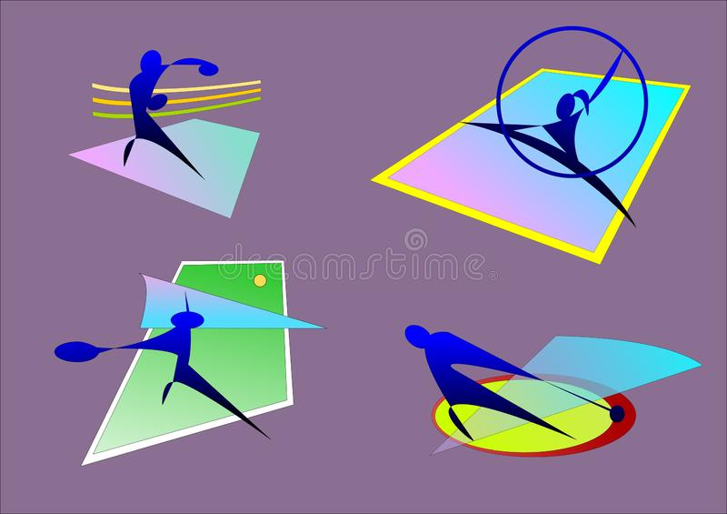 Sporten, gymnastiek- in dozen doen, hamer, tennis royalty-vrije illustratie