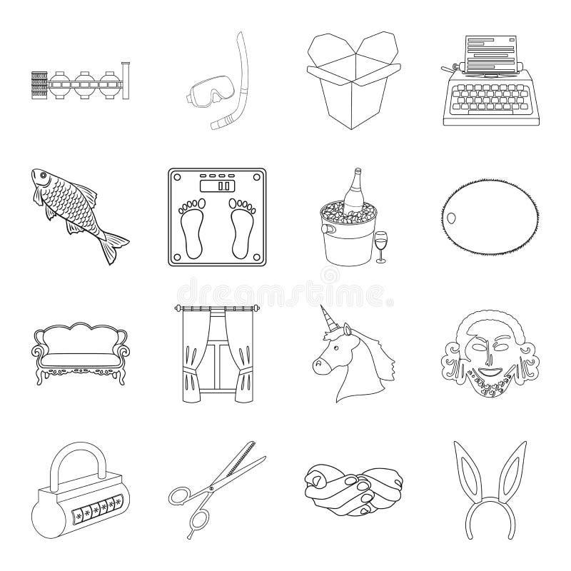 Sporten, kondition, möblemang och annan rengöringsduksymbol i översikt utformar frisör historia, tjänste- symboler i uppsättnings vektor illustrationer