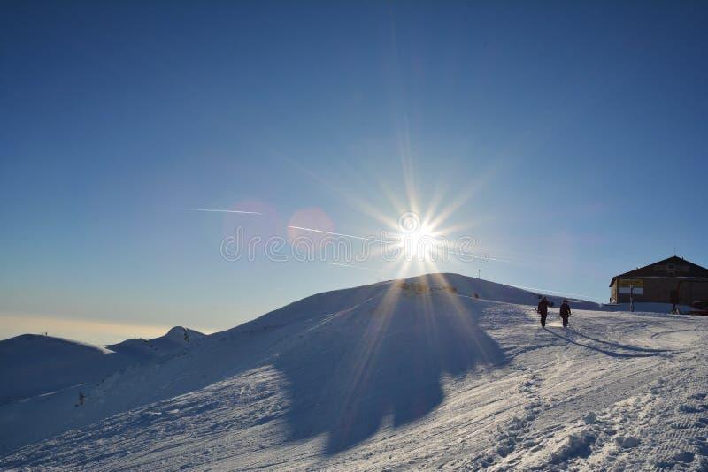 Sporten och rekreation övervintrar på 2000m höjd Sinaia royaltyfri bild