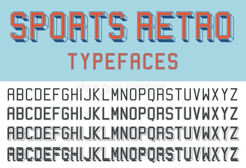 Sporten retro lettersoorten vector illustratie