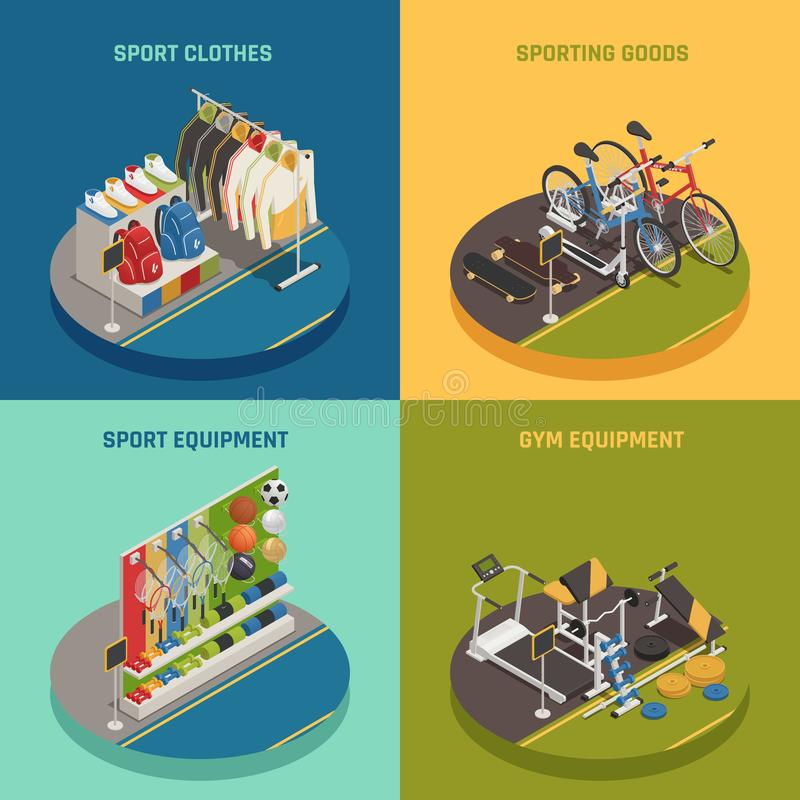 Sporten shoppar isometriskt designbegrepp royaltyfri illustrationer