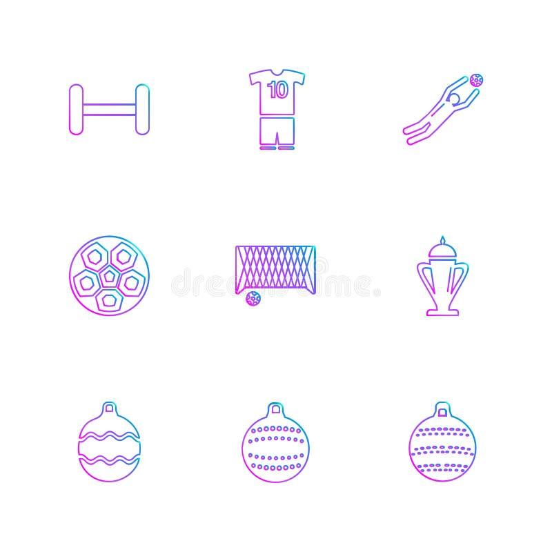 sporten, spelen, atheletes, ballen, fitness, eps geplaatste pictogrammen vec stock illustratie