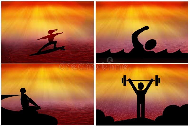 Sporten, yoga, fitness de pictogrammen van het silhouetweb royalty-vrije illustratie