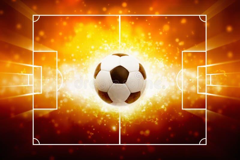 Sportenachtergrond - brandende voetbalbal stock illustratie