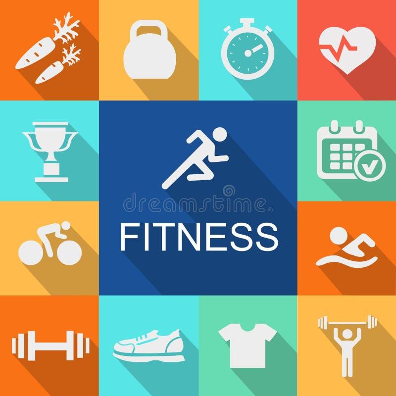 Sportenachtergrond met fitness pictogrammen in vlakke stijl vector illustratie