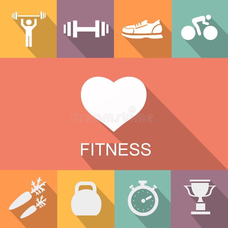 Sportenachtergrond met fitness pictogrammen in vlakte stock illustratie