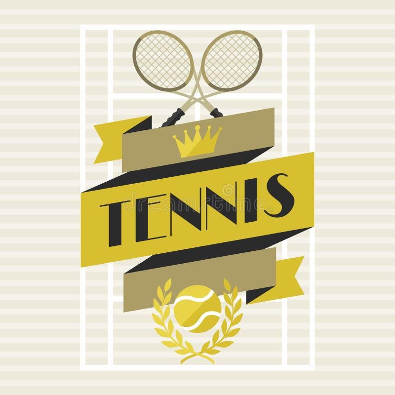 Sportenachtergrond met tennis in vlakke ontwerpstijl stock illustratie