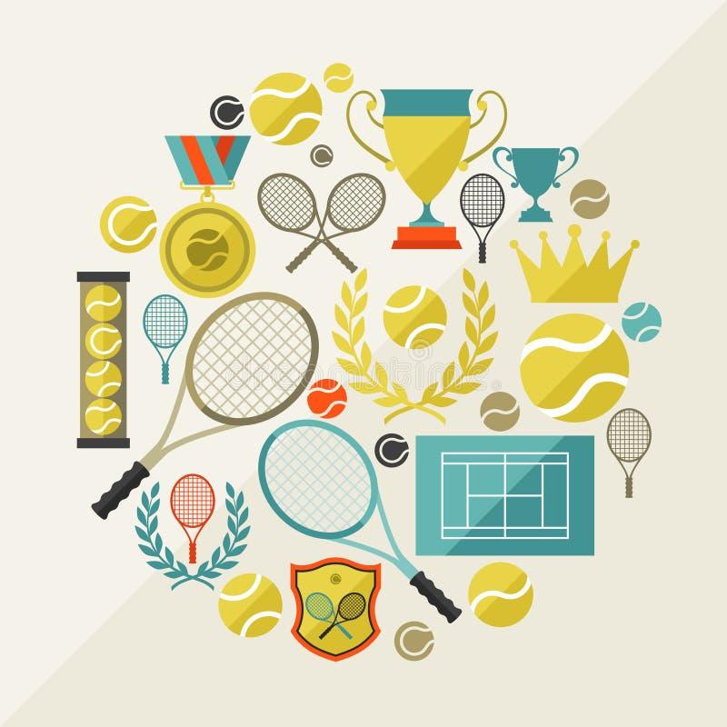 Sportenachtergrond met tennispictogrammen in vlak ontwerp royalty-vrije illustratie