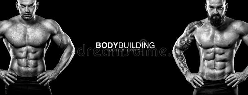 Sportenbehang op donkere achtergrond Bodybuilder van de machts de atletische kerel De Banner van de sportvoeding stock afbeeldingen