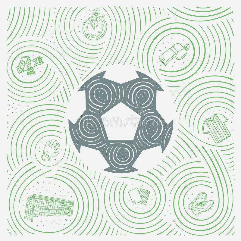 Sportenillustratie met Voetbal/Voetbalbal en Symbolen ter beschikking Getrokken Stijl vector illustratie