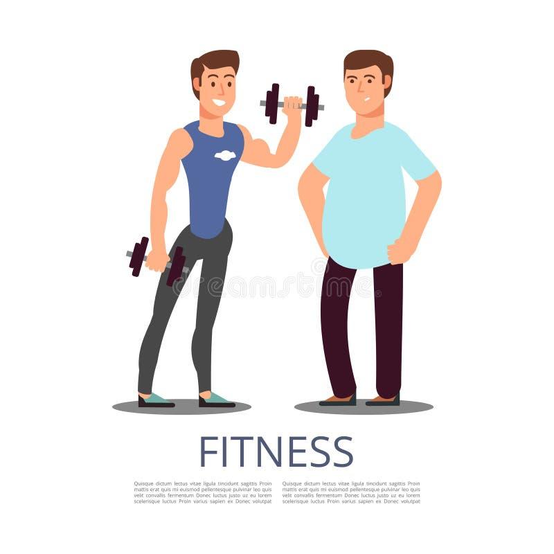 Sportenmens en mollige die mens op witte achtergrond wordt geïsoleerd vector illustratie