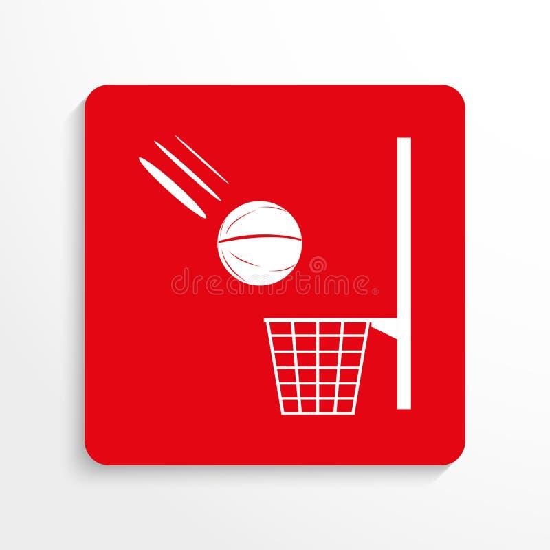 Sportensymbool Basketbal Het pictogram van toestellen Rood en wit beeld op een lichte achtergrond met een schaduw royalty-vrije illustratie