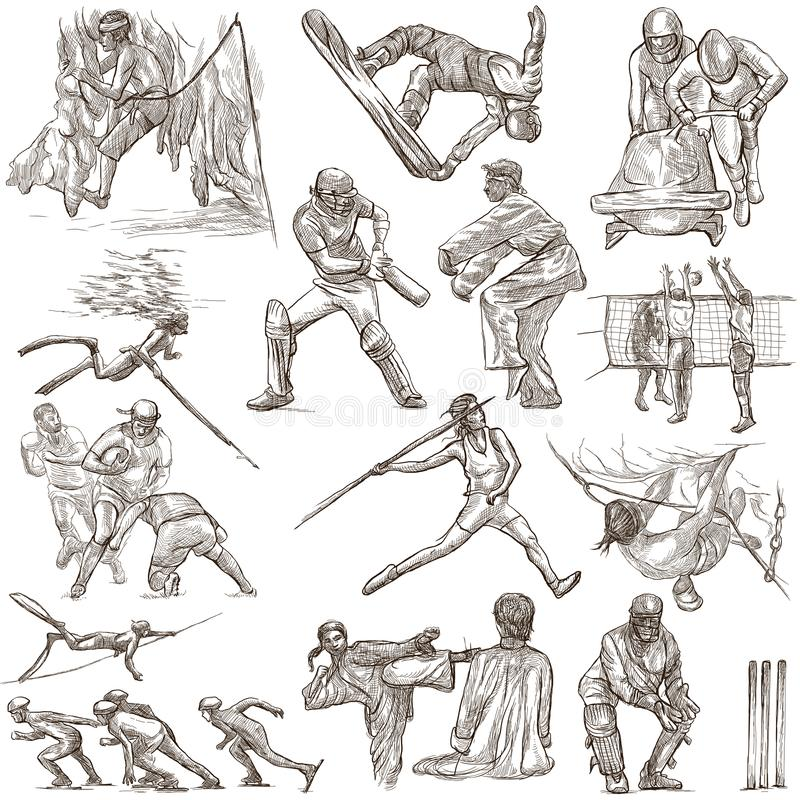 Sportereignisse, Sport-Mischung - eine Hand gezeichnete Sammlung auf Weiß stock abbildung